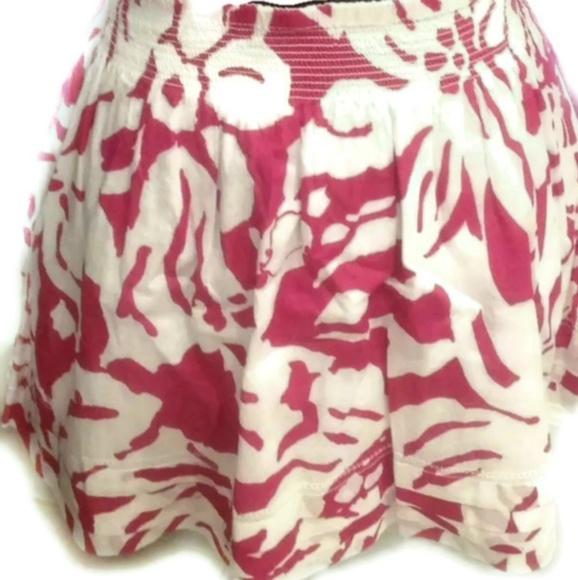 SO Dresses & Skirts - SO Cotton Raspberry Floral Print Skater Mini Skirt